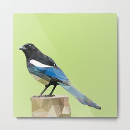Curious Magpie - Low poly digital art Metal Print