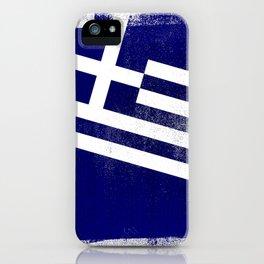 Greek Distressed Halftone Denim Flag iPhone Case