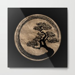 Enso Zen Circle and Bonsai Tree Gold Metal Print