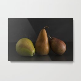 Still LIfe of Fresh Pears on a Dark Surface Metal Print