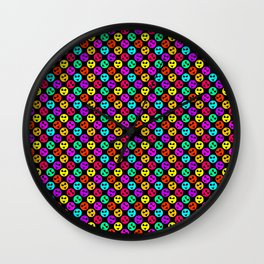 Mini Smiley Bikini Bright Neon Smiles on Black Wall Clock