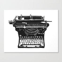 Vintage Underwood Typewriter linocut Canvas Print
