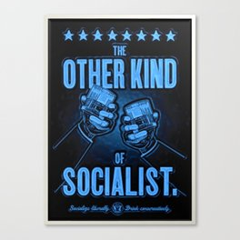 "Vintage ""The Other Kind of Socialist"" Alcoholic Lithograph Advertisement in dark blue Canvas Print"
