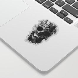 Garden Skull Dark B&W Sticker