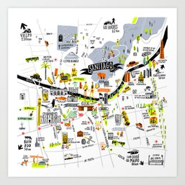 Santiago Map Art Print