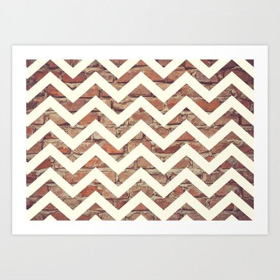 Chevron Bricks Pattern Art Print