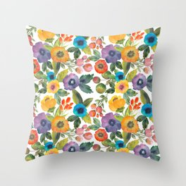 Scattered Poppies Throw Pillow