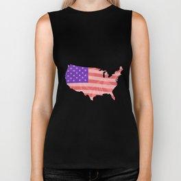 USA Map Silhouette Silk Flag Biker Tank