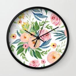 Elegant Roses Coral Pink + Green Wall Clock