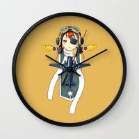 pilot Wall Clocks featuring Pilot Banner by Freeminds