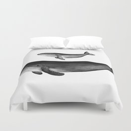 Whales, black and white Duvet Cover