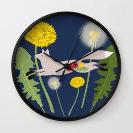 Leaping Fox Dandelions Folk Art Wall Clock