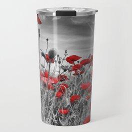 Idyllic Field of Poppies with Sun Travel Mug