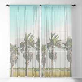3 Retro Palms Sheer Curtain