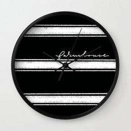 Farmhouse stripes black  Wall Clock