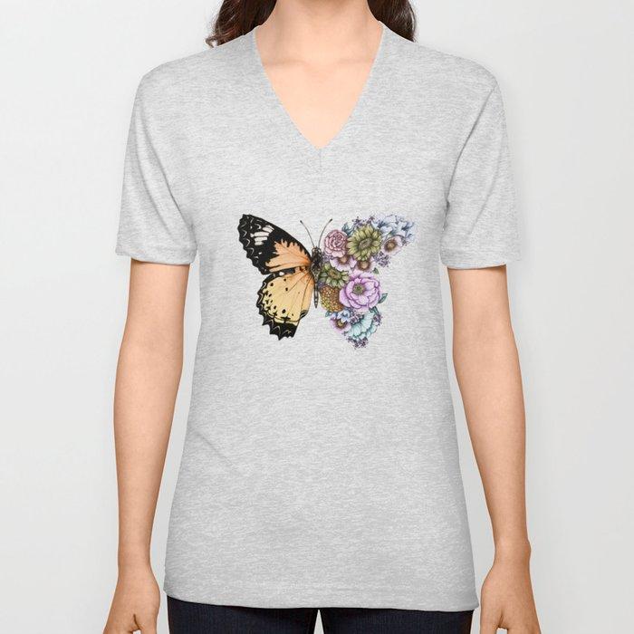 Butterfly in Bloom II Unisex V-Ausschnitt