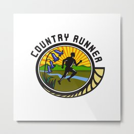 Cross Country Runner Text Oval Retro Metal Print