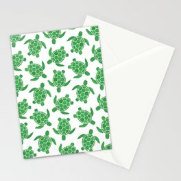 Sea Turtle in Green Stationery Cards