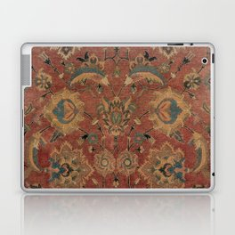 Flowery Boho Rug IV // 17th Century Distressed Colorful Red Navy Blue Burlap Tan Ornate Accent Patte Laptop & iPad Skin