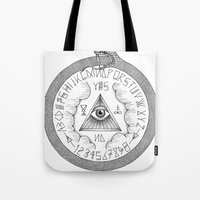 ouija Tote Bags featuring Ouija by oracularcoven