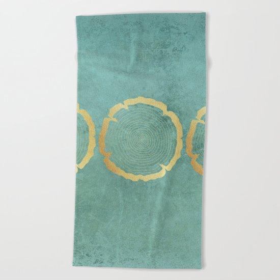 Gold Foil Tree Ring Beach Towel
