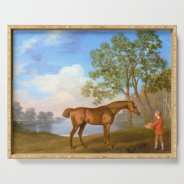 Pumpkin With A Stable-lad - George Stubbs Serving Tray