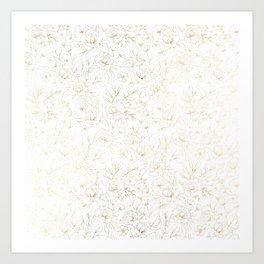 Elegant simple modern faux gold white floral Art Print