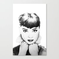 hepburn Canvas Prints featuring Hepburn by Aoife Rooney Art