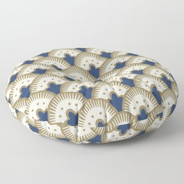 Fan Pattern Blue/Gold Floor Pillow