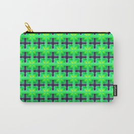 Bright Green Irish Shamrocks and Purple Crosses Carry-All Pouch