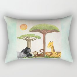 Watercolor Safari Animals Under Exotic Baobab Tree Rectangular Pillow