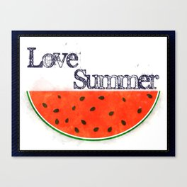 Love Summer - Watermelon Watercolor Canvas Print