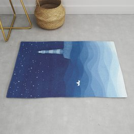 Lighthouse & the paper boat, blue ocean Rug