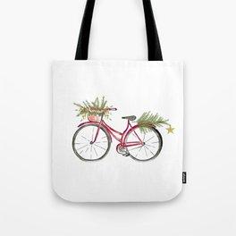Red Christmas bicycle Tote Bag