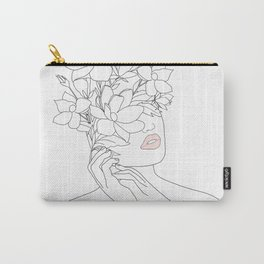 Minimal Line Art Woman with Magnolia Carry-All Pouch