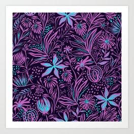 stamping pattern leaves purple Art Print
