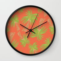 palm trees Wall Clocks featuring Palm Trees by Allyson Johnson