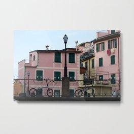 Bikes in Riomaggiore Metal Print