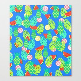 Watermelons and pineapples in blue Canvas Print