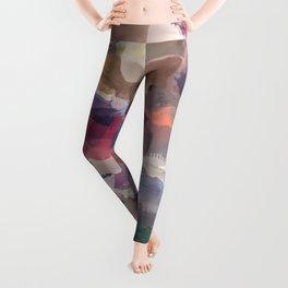 splash brush painting texture abstract background in purple blue brown Leggings