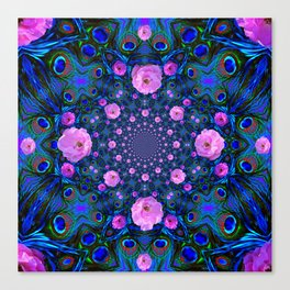 DECORATIVE HUNDRED  PINK ROSES & BLUE  ABSTRACT Canvas Print
