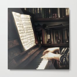 Music. The piano lesson. Metal Print