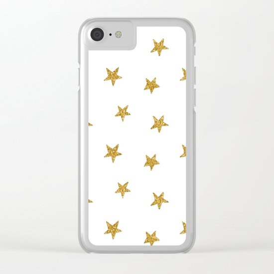 Merry christmas-Stars shining brightly-Gold glitter pattern Clear iPhone Case