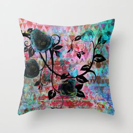 Black Rosevine Watercolor Tribal Throw Pillow