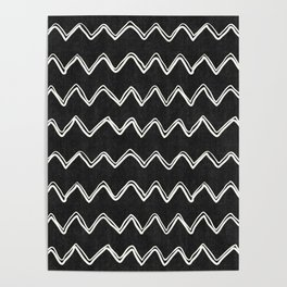 Moroccan Horizontal Stripe in Black and White Poster
