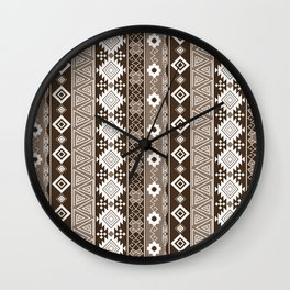 Colorful Aztec pattern with brown. Wall Clock