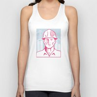 engineer Tank Tops featuring Construction Engineer Worker Hardhat by retrovectors