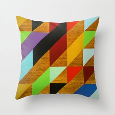 triangles on wood Throw Pillow