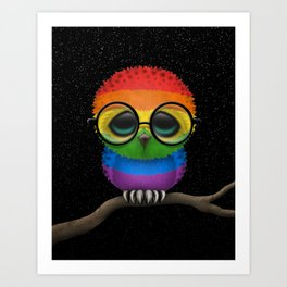 Baby Owl with Glasses and Gay Pride Rainbow Flag Art Print