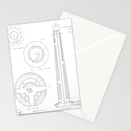 Absecon Lighthouse Blueprint Stationery Cards
